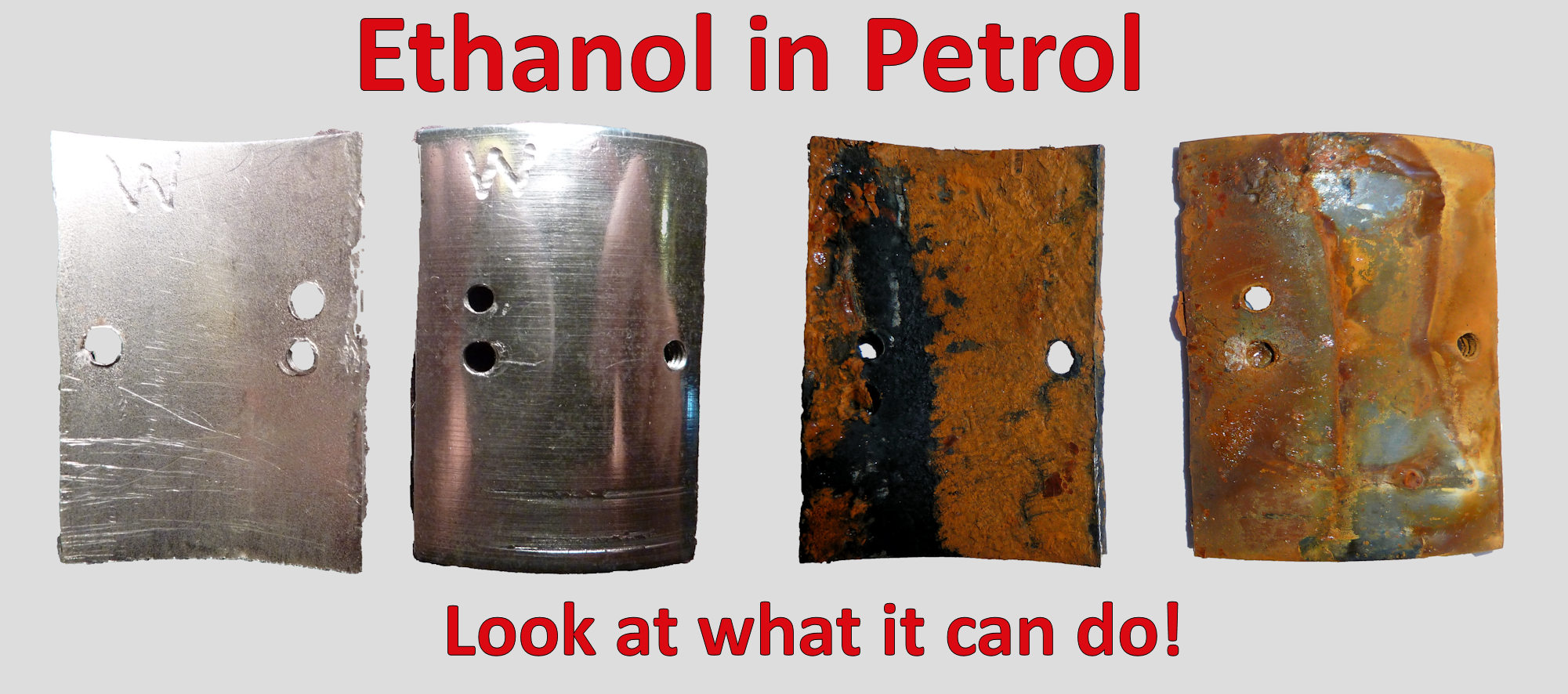 Picture showing the effects of ethanol blended petrol
